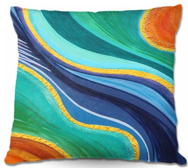 Pillow Woven Poplin from DiaNoche Designs - Sea Breeze I contemporary-decorative-pillows