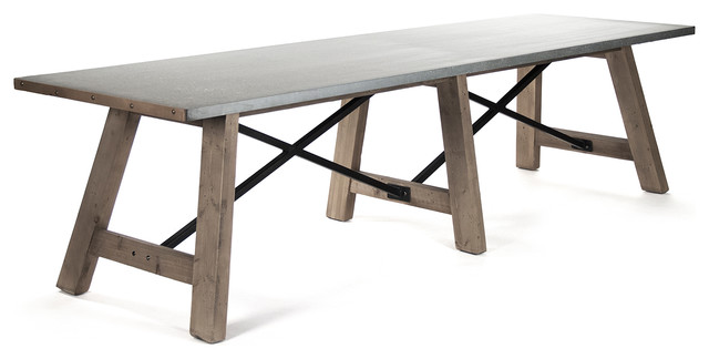 Calistoga industrial rustic galvanized steel 12 person for 12 person dinning table