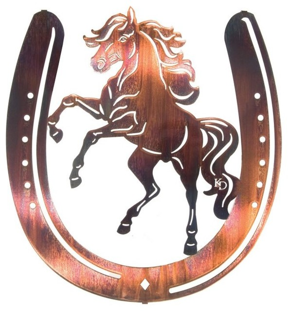 Horse Shoe Amp Buckin Bronc Western Metal Wall Art 18
