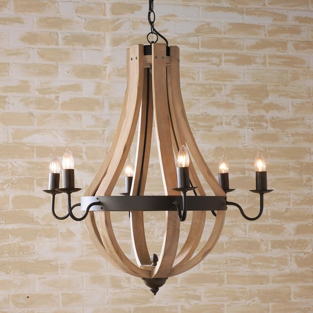 Wooden Wine Barrel Stave Chandelier Chandeliers By