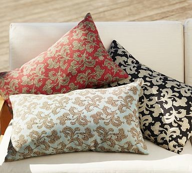 Decorative Outdoor Lumbar Pillows : Alden Floral Outdoor Canvas Lumbar Pillow, 16 x 26