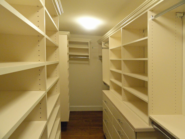 Melamine wall hung or floor mounted closet systems