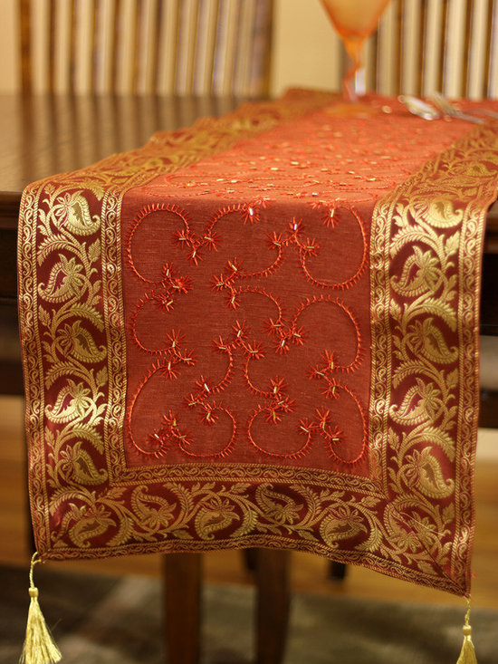 """Elegant Table Runners - Fall Season Decor """"Rustic Orange"""" Table Runner. Indian embroidered design. Dupion fabric. Perfect decor idea to embellish your room."""