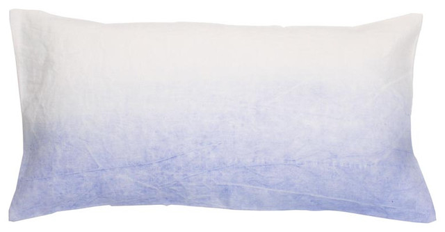 Handpainted Linen Pillow In Light Blue contemporary pillows