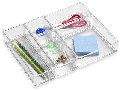 Lucite drawer organizer contemporary desk accessories - Acrylic desk organizer set ...