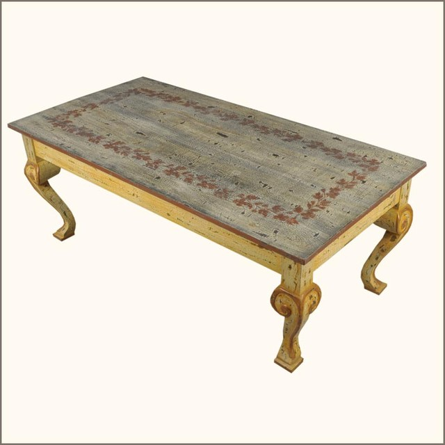 Oklahoma farmhouse hand painted distressed coffee table traditional coffee tables austin Traditional coffee table