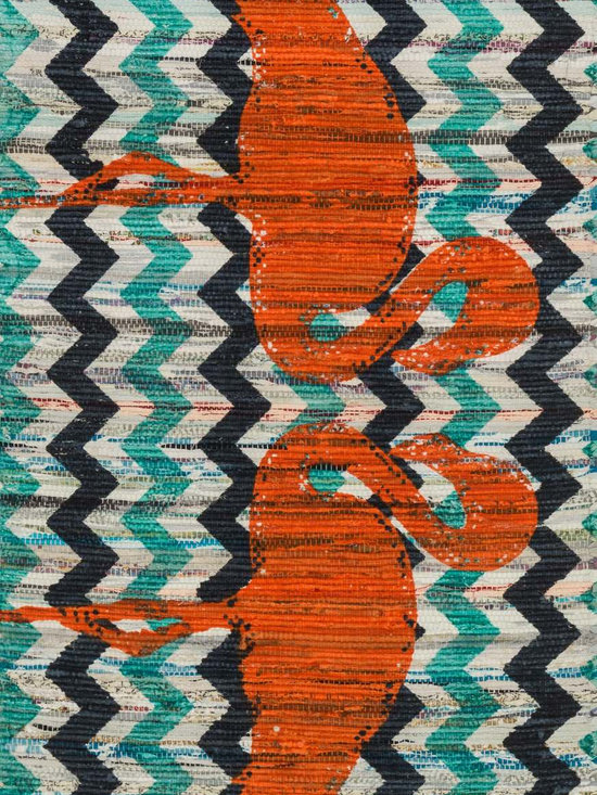 """Loloi Rugs - Loloi Rugs Aria Collection - Aqua / Orange, 2'-3"""" x 3'-9"""" - Expressive and relaxed, stylish and fun. The Aria Collection from India has it all. Pretty paisley patterns, flourishing flowers, dreamy damasks and magical medallion designs are printed onto 100% recycled cotton Chindi for scatter rugs that are flirty and fashionable. Dressed in a palette of bold, saturated colors that take you from cool blues and pinks to warm spice tones and modern tropical hues, too, Aria rugs come in select scatter sizes that will accent choice spaces with flair."""