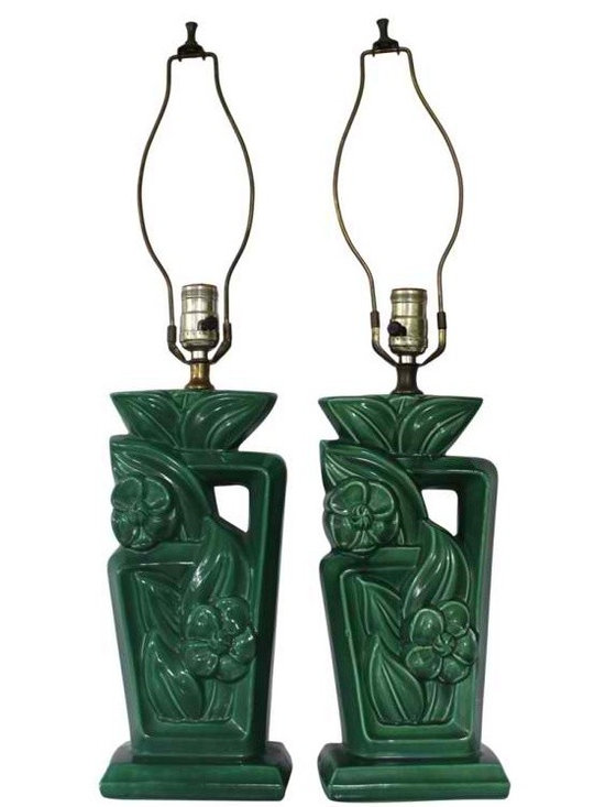 Large Green Mid Century Lamps - This is a gorgeous pair of green ceramic mid century lamps with floral motif.  Very good working condition - one lamp has a small repair on its back side.