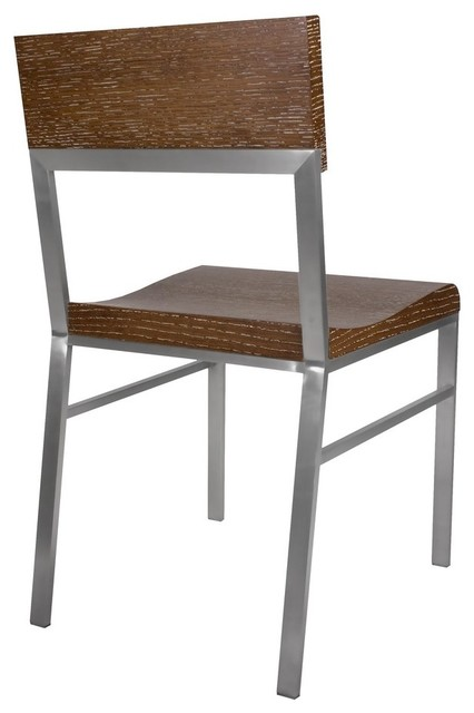 Allan Copley Designs Force Dining Side Chair in White Limed Cognac w/ Brushed St modern-dining-chairs