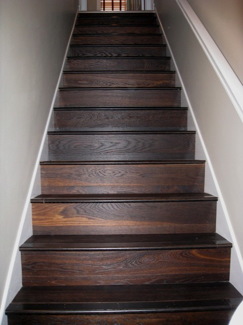 Carbonized white oak oiled brushed engineered for Hardwood floors on stairs