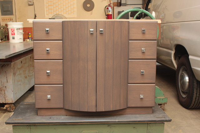 Rift Cut White Oak Vanity Eclectic Bathroom Vanities