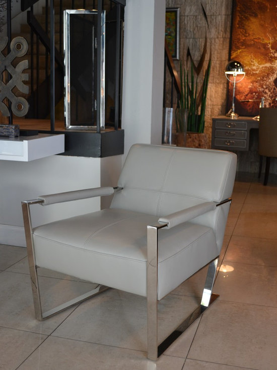 Showroom Pieces - Gray Leather Accent Chair