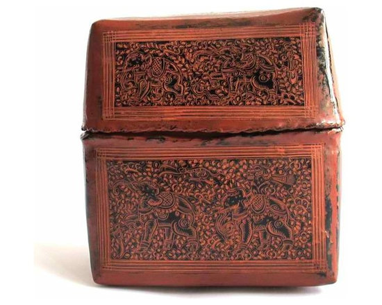 Burmese Lacquer Box - This box made of woven bamboo, was designed with a close-fitting lid to store personal items such as money, jewelry or other valuables. The basket received several layers of lacquer to add strength and make it water-proof. Lacquer was a popular gift to foreign envoys from members of the Burmese court and were used to store royal jewels, letters, and sacred Buddhist manuscripts.