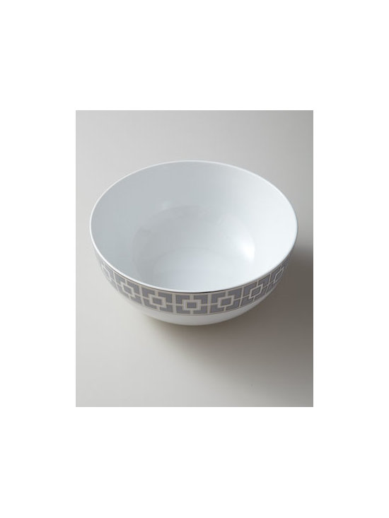 "Jonathan Adler - Jonathan Adler ""Nixon"" Serving Bowl - A bold fretwork pattern and platinum accents make this modern yet traditional serving bowl too special to save for an occasion. You'll want to use it every day. From Jonathan Adler. Made of high-fired glazed porcelain. Hand wash. 9""Dia. x 4.5""T. Im..."