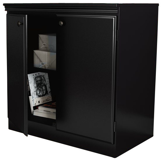South Shore Morgan Transitional Style Storage Cabinet in Pure Black - Transitional - Accent ...