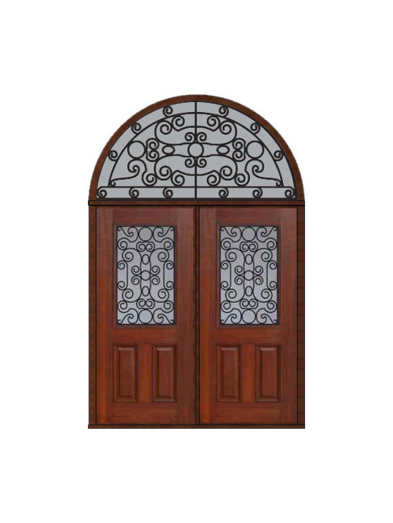 "Prehung Transom Double Door 80 Fiberglass Genoa 1/2 Lite GBG Glass - SKU#    MCT012WG_DFHGG2-HRGGBrand    GlassCraftDoor Type    ExteriorManufacturer Collection    1/2 Lite Entry DoorsDoor Model    GenoaDoor Material    FiberglassWoodgrain    Veneer    Price    3925Door Size Options    2(36"")[6'-0""]  $0Core Type    Door Style    Door Lite Style    1/2 LiteDoor Panel Style    2 PanelHome Style Matching    Door Construction    Prehanging Options    PrehungPrehung Configuration    Double Door and Half Round TransomDoor Thickness (Inches)    1.75Glass Thickness (Inches)    Glass Type    Double GlazedGlass Caming    Glass Features    Tempered glassGlass Style    Glass Texture    Glass Obscurity    Door Features    Door Approvals    Energy Star , TCEQ , Wind-load Rated , AMD , NFRC-IG , IRC , NFRC-Safety GlassDoor Finishes    Door Accessories    Weight (lbs)    876Crating Size    36"" (w)x 108"" (l)x 89"" (h)Lead Time    Slab Doors: 7 Business DaysPrehung:14 Business DaysPrefinished, PreHung:21 Business DaysWarranty    Five (5) years limited warranty for the Fiberglass FinishThree (3) years limited warranty for MasterGrain Door Panel"