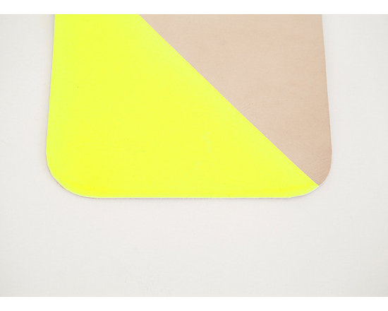 Neon Yellow Leather Mouse Pad -