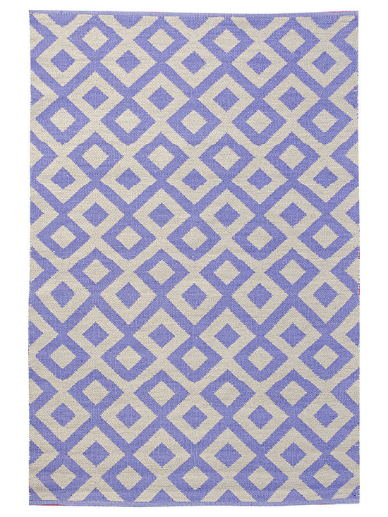 KOKO - Tile Area Rug - 4' x 6' -  Periwinkle/Shell - With its witty graphic and cool colors, this hand-loomed area mat has the look of tile. It's ideal for indoor or outdoor use, being mold and mildew resistant, and a snap to clean: Just hose off and drip dry.