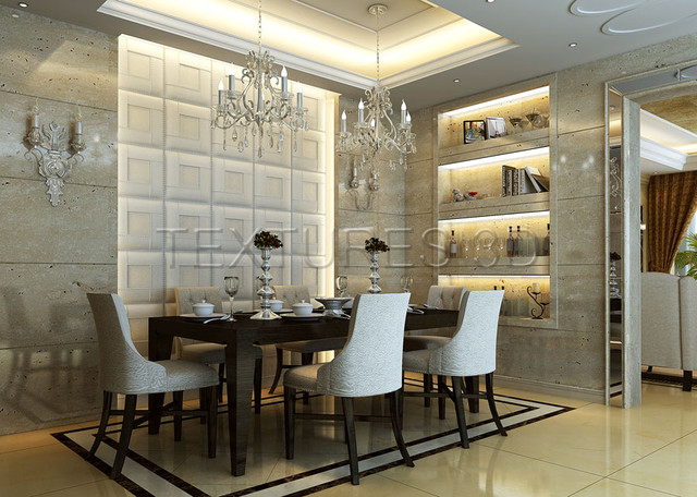 Textures 3d texture wall panels pu leather tile for Modern dining room wall decor