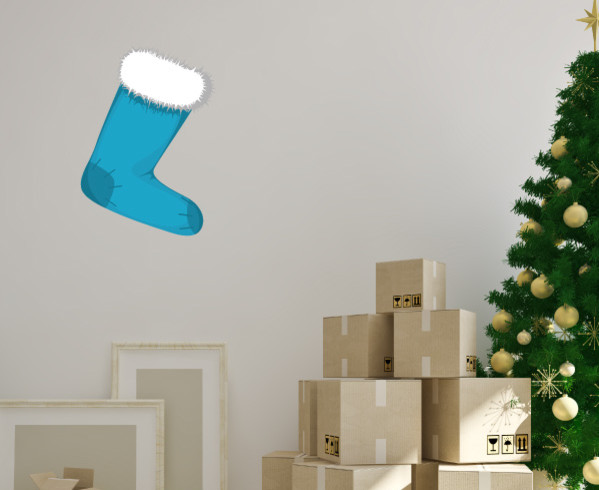 Christmas Stocking Vinyl Wall Decal ChristmasStockingUScolor005; 12 in. contemporary-wall-decals