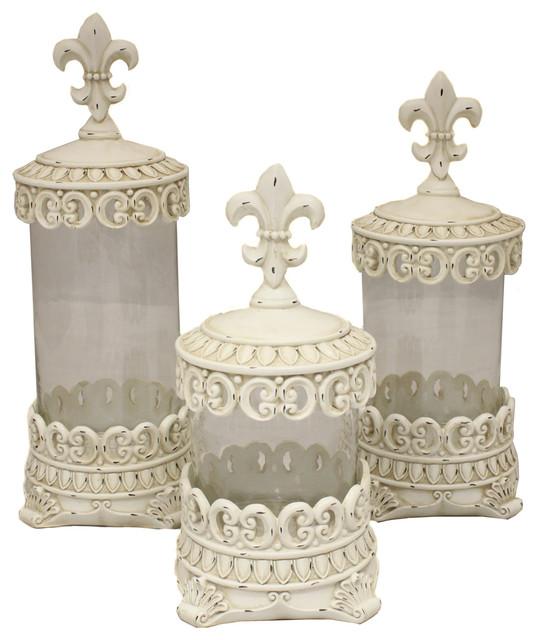 Urban designs antique white fleur de lis decorative glass canister set traditional - Fleur de lis canisters ...