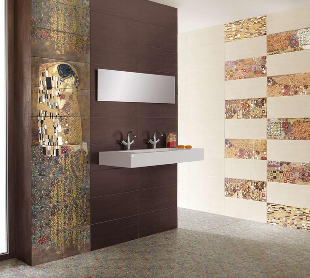 Gustav klimt39s 39the kiss39 tiles modern tile new york for Houzz com bathroom tile