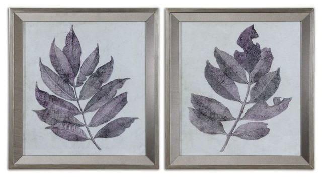 Wall Art Silver Frames : Sentialsinside purple leaves framed wall art
