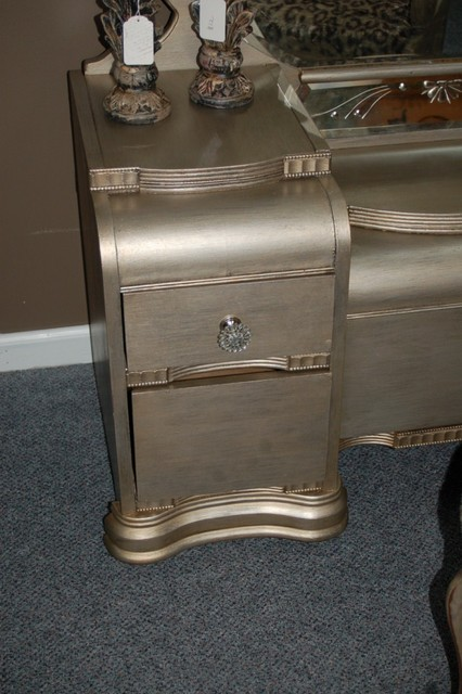 An Antique Waterfall Vanity Repurposed Silver traditional-indoor-benches