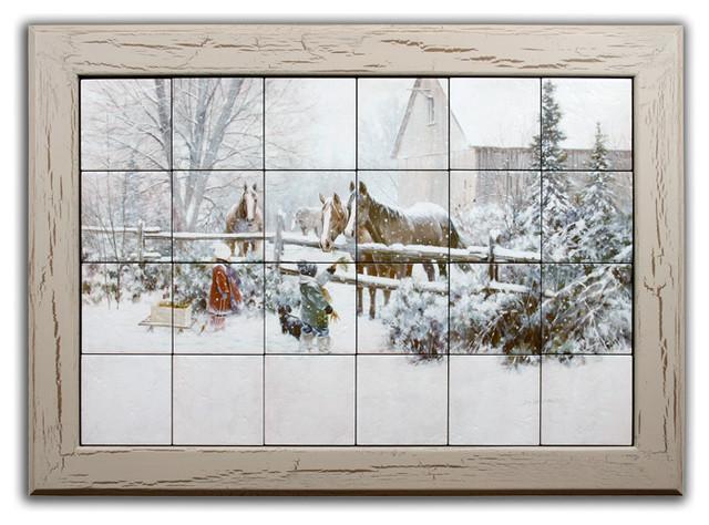 """Four Horses"" Tile Mural Framed Art Farmhouse Wall Decor"