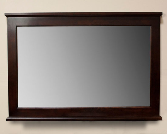None - Dark Walnut 48-inch Wall Mirror - This gorgeous sharp angle Dark Walnut Wall Mirror measures 48 inches wide in a landscape orientation. Mounting hardware is included.