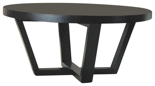 Allan Copley Designs Andy 42 Inch Round Cocktail Table In Black On Oak Modern Coffee Tables