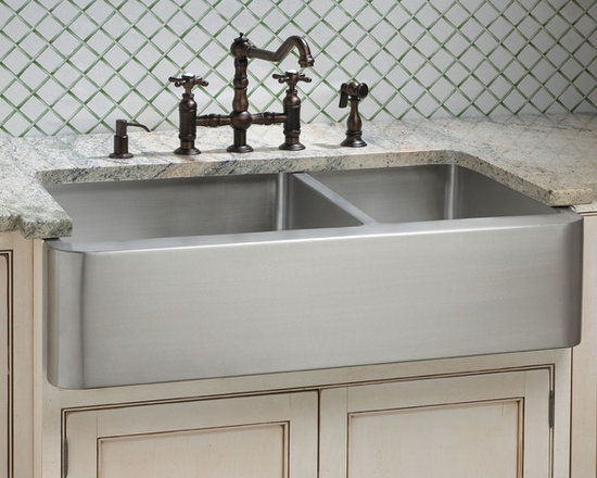 "Fresh Farmhouse Sinks - Hazelton Stainless Steel 60/40 Double Well Farmhouse Sink - 33"", 36"""