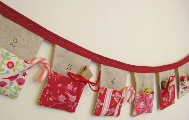 Bunting Advent Calendar by Sew Sweet Violet modern-christmas-decorations