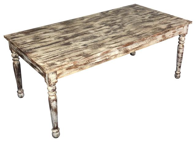 Distressed White Finish Mango Wood Farmhouse Dining Table