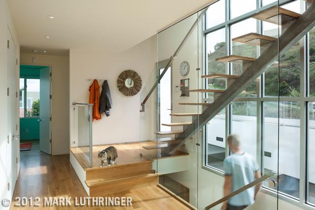 White Modern House modern-staircase