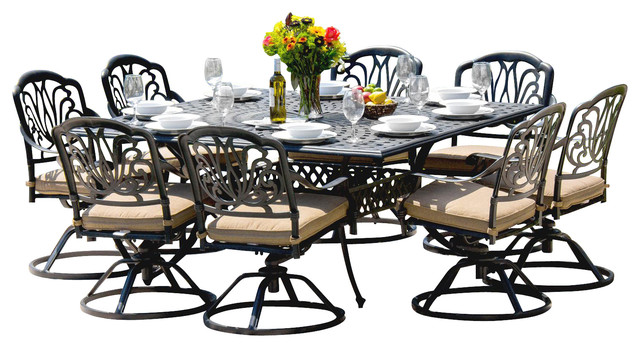 ... 8 Person Patio Table By Rosedown 8 Person Cast Aluminum Patio Dining Set  With Cast ...