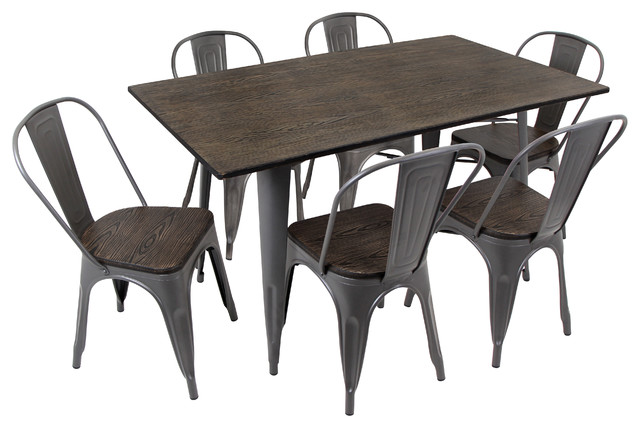 Oregon dining set 7 piece industrial dining sets by for Kitchen set industrial