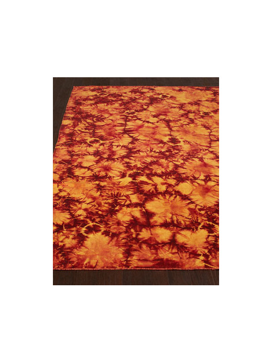 "Exquisite Rugs - Exquisite Rugs ""Brilliant Sunburst"" Rug - We love the visual drama this intensely hued rug brings to the room—and the fact that it exhibits the quality of craftsmanship found in traditional Oriental designs. Hand woven of luxurious dyed New Zealand wool on a cotton foundation. Hand trimmed. Durable and intended for traffic. Sizes a"