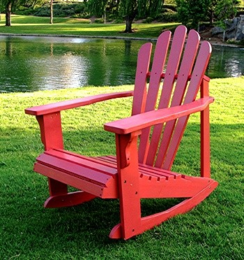 Solid Cedar Adirondack Style Rocking Chair in Red Finish traditional-outdoor-rocking-chairs