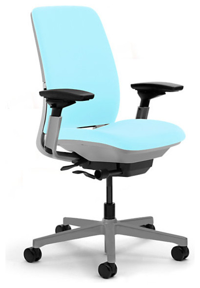 Steelcase Amia Task Chair, Platinum Base w/Arms & Standard Casters, Maya Blue modern-office-chairs