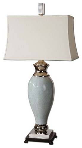 Rossa One Light Table Lamp in Crackled Light Blue modern-table-lamps