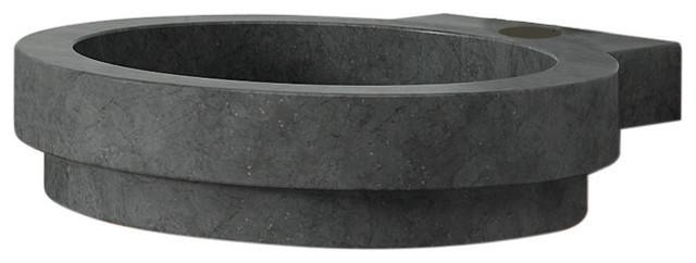 Icono Stone Unique Shaped Vessel Sink, Black modern-bathroom-sinks