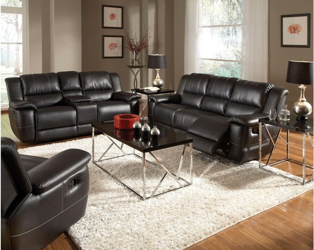 Black Leather Reclining Sofa Couch Loveseat Recliner Glider Motion Set Contemporary Sofas