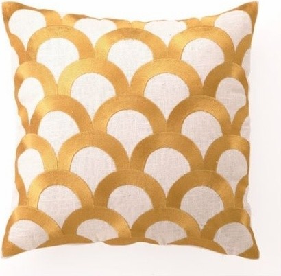 Citron Scales Linen Embroidered Pillow contemporary pillows