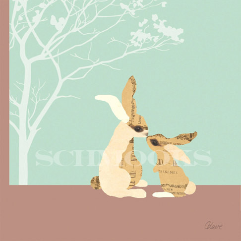 Baby Nursery Bunny Art Print The Kiss by SCHMOOKS contemporary artwork