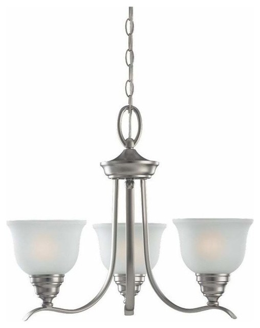 3-Light Chandelier Brushed Nickel (includes bulbs) contemporary-chandeliers