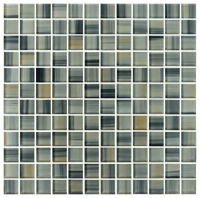 Beach Break 1 x 1 Hand Painted Glass Mosaic Tiles, 10 Square Feet contemporary-mosaic-tile