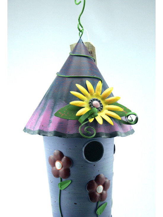 Outdoor Accents - Daisy Birdhouse - Brightly colored accent crafted from metal.