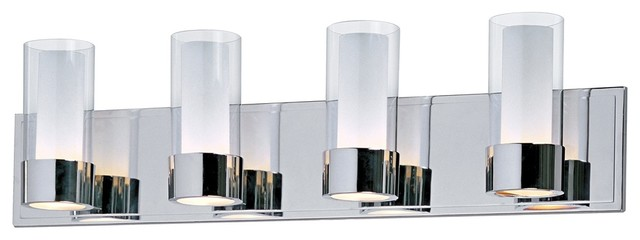 Contemporary Maxim Silo Polished Chrome 4-Light Bathroom Light Fixture contemporary-bathroom-lighting-and-vanity-lighting