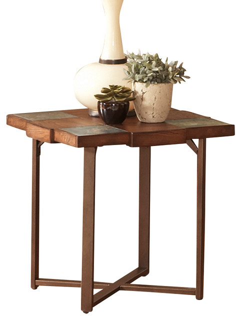 Steve Silver Winchester Slate Top End Table With Gauge